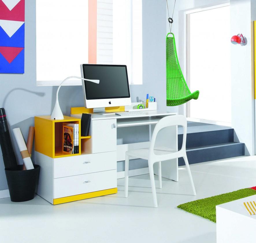 Dětský pracovní stůl MOBI MO 11 (bílá lesk/žlutá)