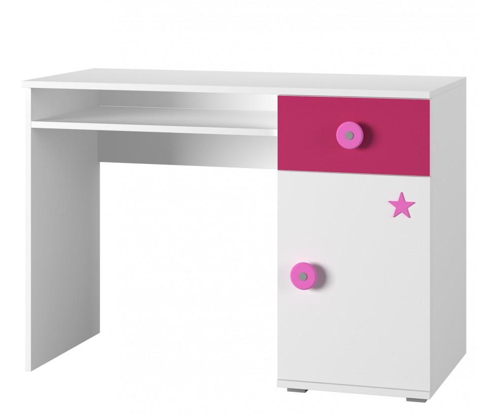 Dětský pracovní stůl Simba 12(korpus bílá/front bílá a růžová)