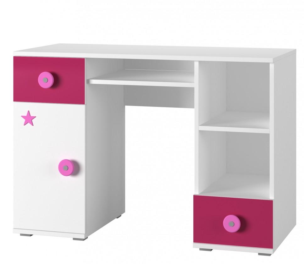 Dětský pracovní stůl Simba 13(korpus bílá/front bílá a růžová)