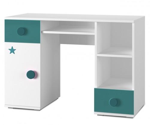 Dětský pracovní stůl Simba 13(korpus bílá/front bílá a tyrkysová)