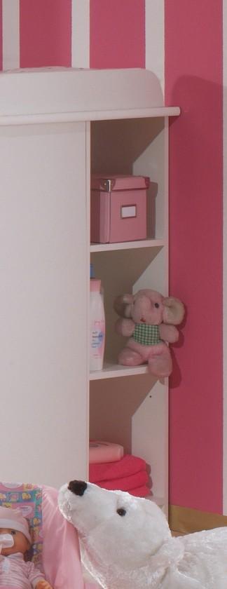 Dětský regál Cinderella - Regál k přebalovacímu pultu (bílá, růžová)