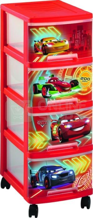 Dětský regál Regálek se 4 zásuvkami  4x10L CARS, červená