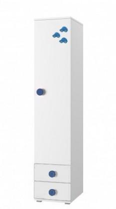 Dětský regál Simba 2(korpus bílá/front bílá a modré autíčko)