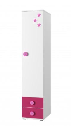 Dětský regál Simba 2(korpus bílá/front bílá a růžová)