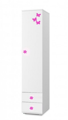 Dětský regál Simba 2(korpus bílá/front bílá a růžový motýlek)