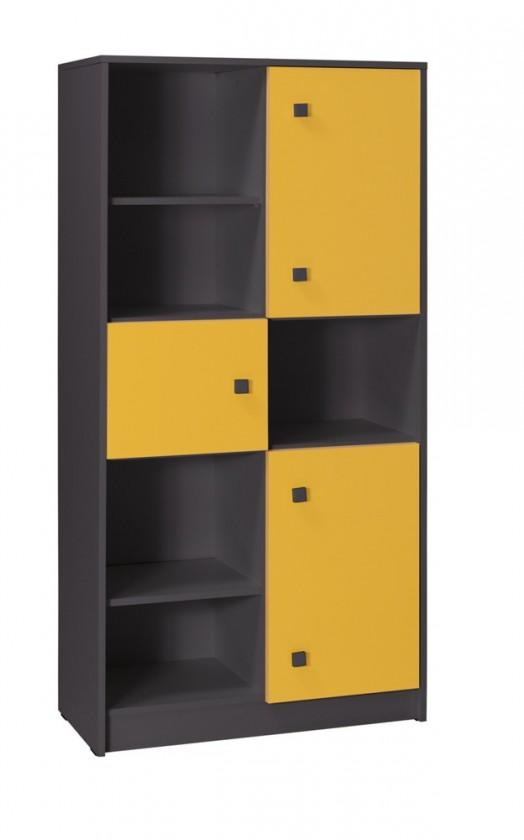 Dětský regál Tommy 7 (šedá/žlutá)