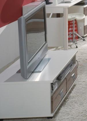 Dětský TV stolek Jette - 360409 (alpská bílá / dub montana)