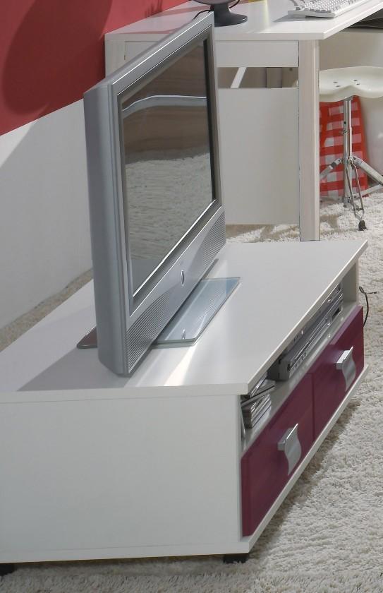 Dětský TV stolek Jette - 366409 (alpská bílá / ostružina)