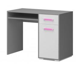 Diego 10 - Stůl (přední strana bílá/šedé boky/růžový úchyt)