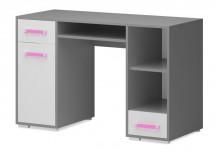 Diego 11 - Stůl (přední strana bílá/šedé boky/růžový úchyt)