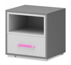 Diego 14 - Noční stolek (bílá/šedé boky/růžový úchyt)