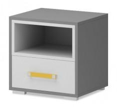 Diego 14 - Noční stolek (bílá/šedé boky/žlutý úchyt)