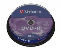 Disk Verbatim DVD+R, 4,7GB, bez možnosti potisku, 10 ks 43498