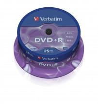 Disk Verbatim DVD+R, 4,7GB, bez možnosti potisku, 25 ks 43500