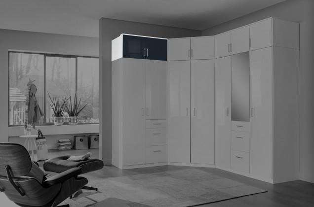 Doplněk Clack - Nástavec na skříň, 2x dveře (černá, bílá)