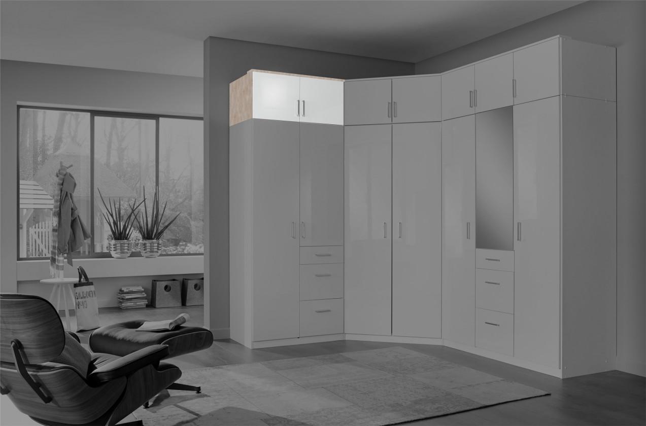 Doplněk Clack - Nástavec na skříň, 2x dveře (dub, bílá)