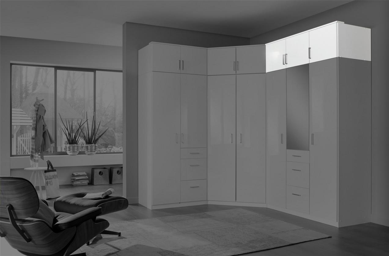 Doplněk Clack - Nástavec na skříň, 3x dveře (bílá, bílá)