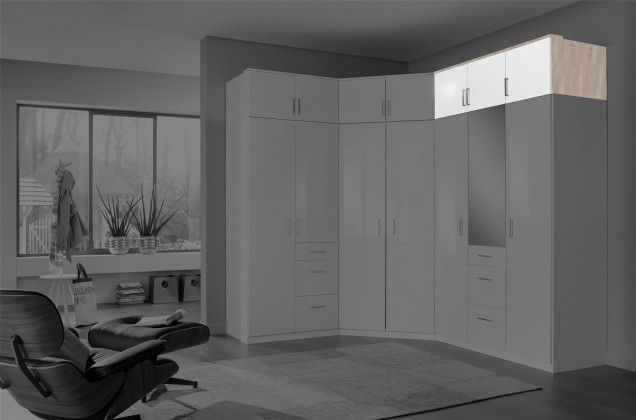 Doplněk Clack - Nástavec na skříň, 3x dveře (dub, bílá)
