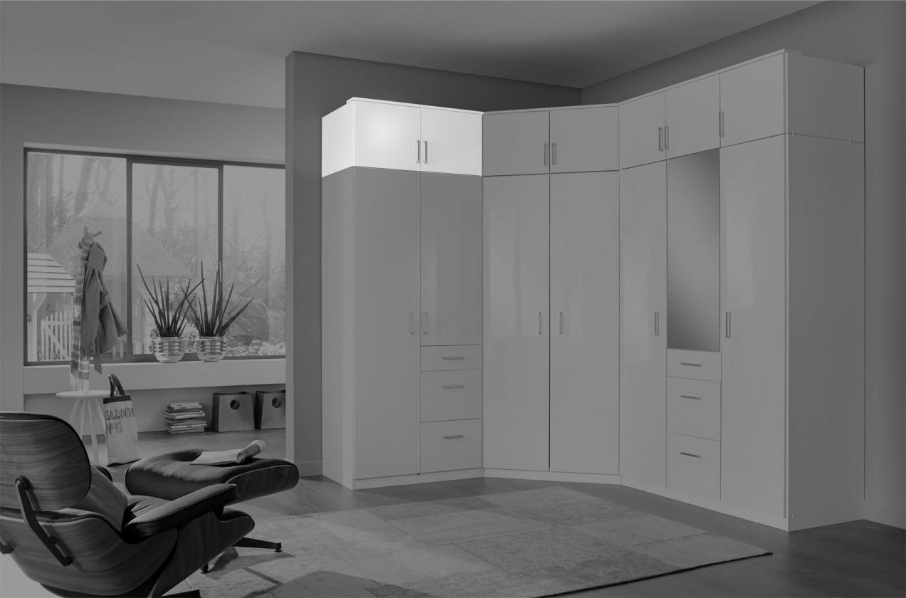 Doplňky Nástavec na skříň Clack (2x dveře, bílá, bílá) - PŘEBALENO