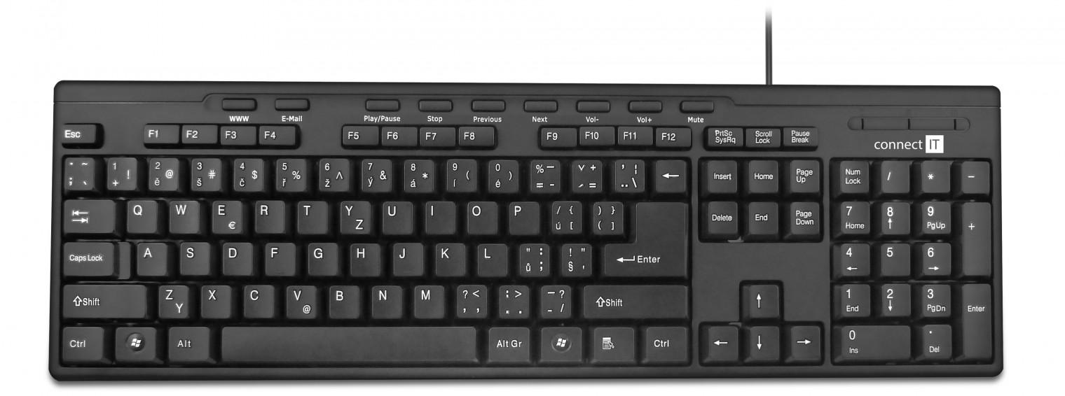 Drátová klávesnice Connect IT CI-138 USB CZ, černá
