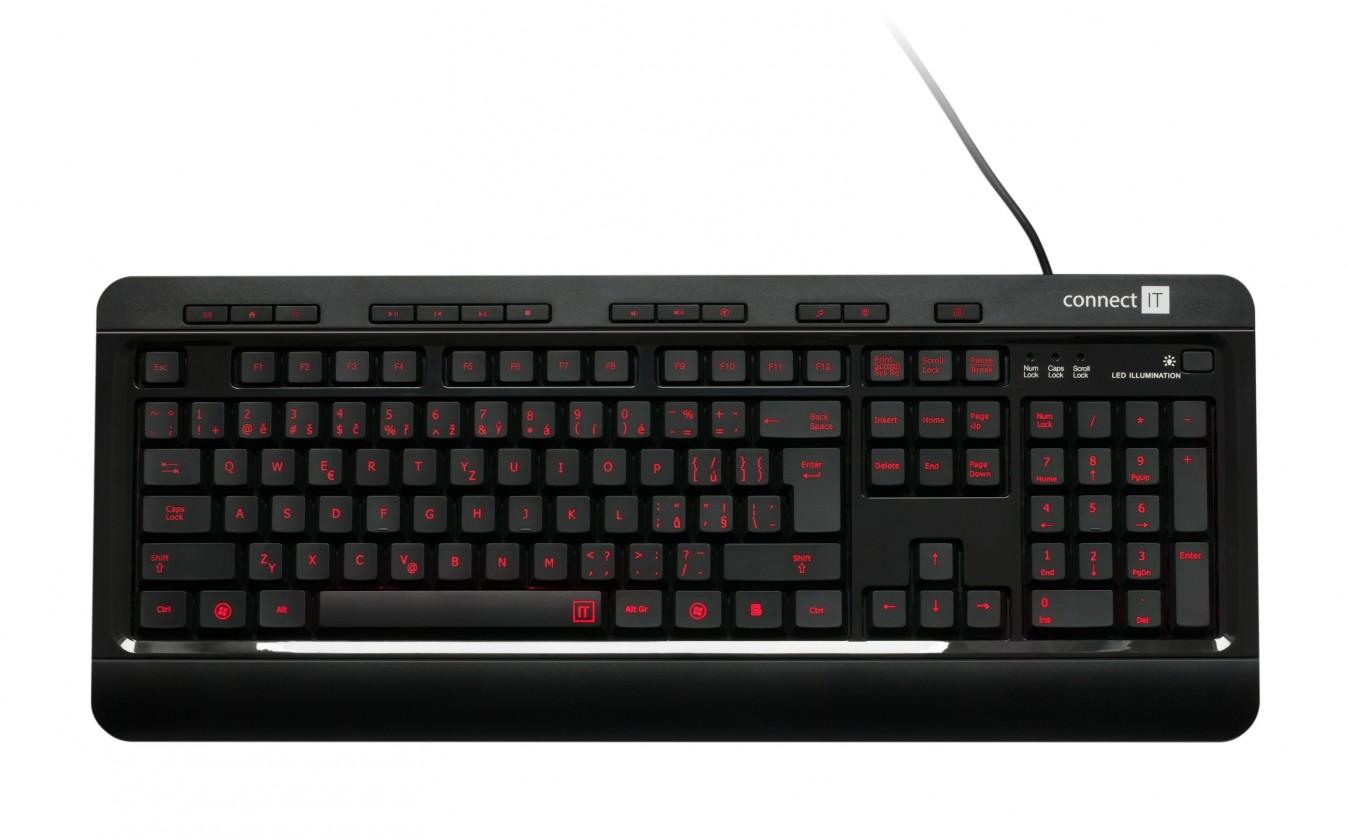 Drátová klávesnice Connect IT Premium CI-162 USB CZ, černá
