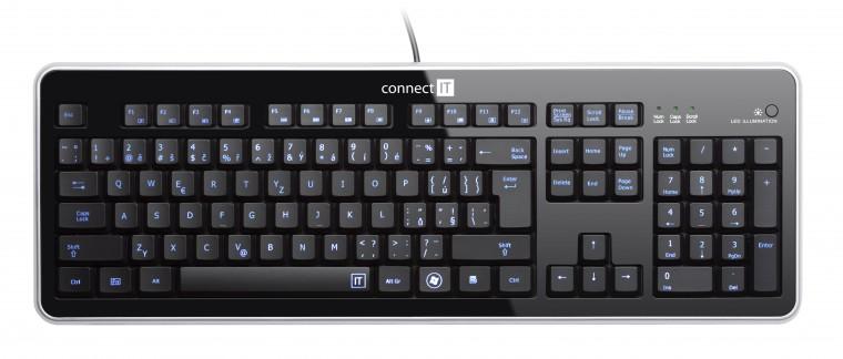 Drátová klávesnice Connect IT Premium CI-45 USB CZ, černá