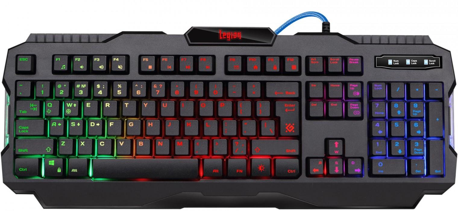 Drátová klávesnice Klávesnice Defender Legion GK-010DL, herní, US layout, černá