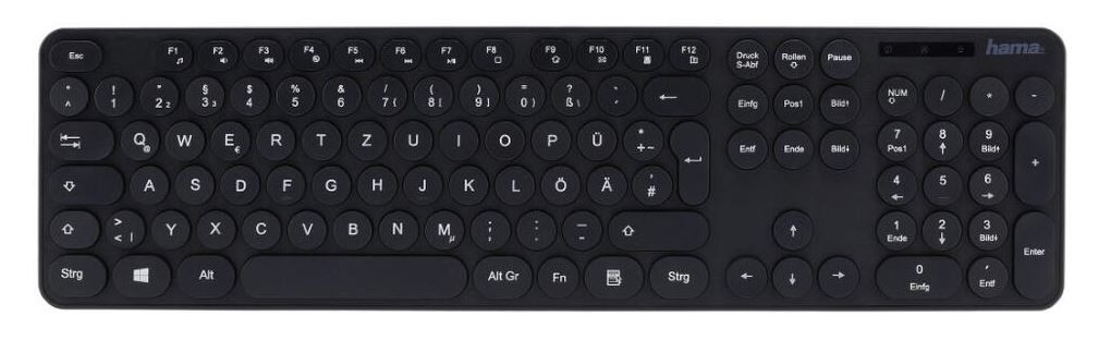 Drátová klávesnice Klávesnice Hama KC-500, kulatá tlačítka, CZ/SK, černá