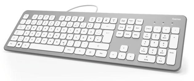 Drátová klávesnice Klávesnice Hama KC-700, CZ, stříbrná/bílá