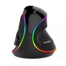 Drátová myš Delux M618, vertikální, RGB, 6 tlačítek, černá POUŽIT