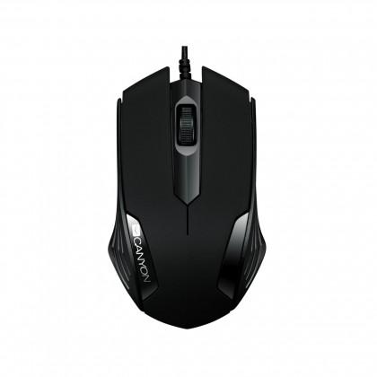 Drátové myši Canyon CNE-CMS02B, optická myš, USB, černá,