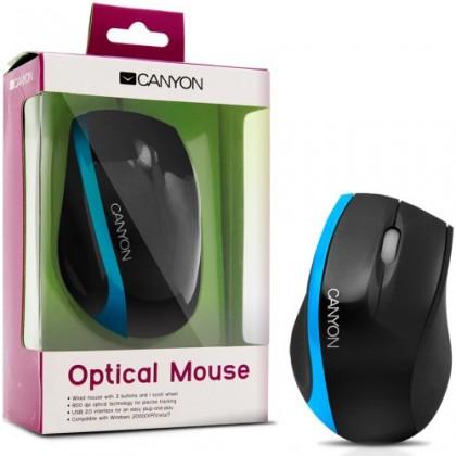 Drátové myši CANYON CNR-MSO01NBL, černá-modrá