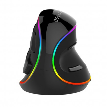 Drátové myši Drátová myš Delux M618, vertikální, RGB, 6 tlačítek, černá