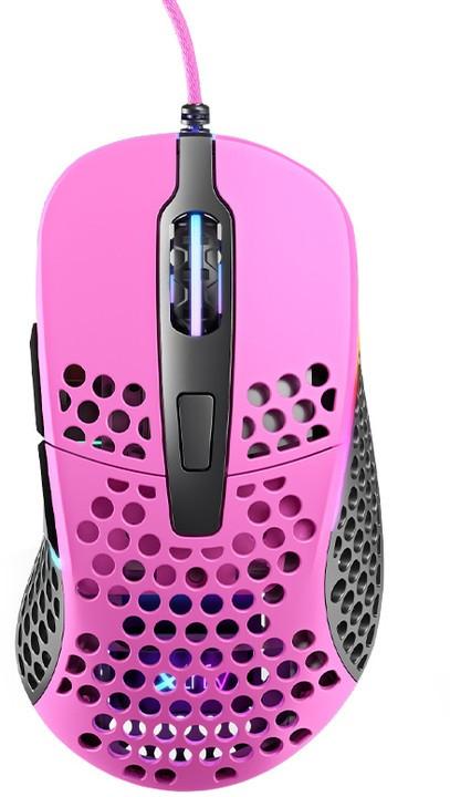 Drátové myši Herní myš Xtrfy M4 RGB, 16 000 dpi, růžová