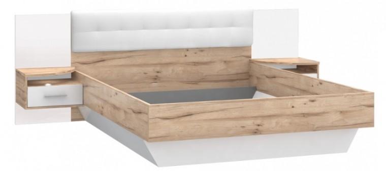 Dřevěná Corsica - Postel 160x200, 2x noční stolek (dub/bílá vysoký lesk)