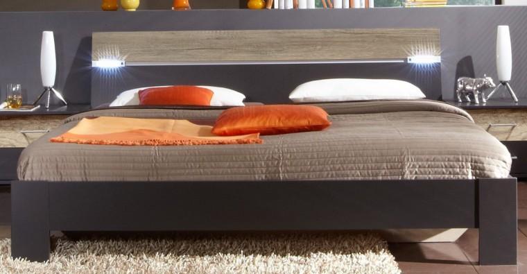 Dřevěná Madrid - Postel 160 cm (lava černá/divoký dub)