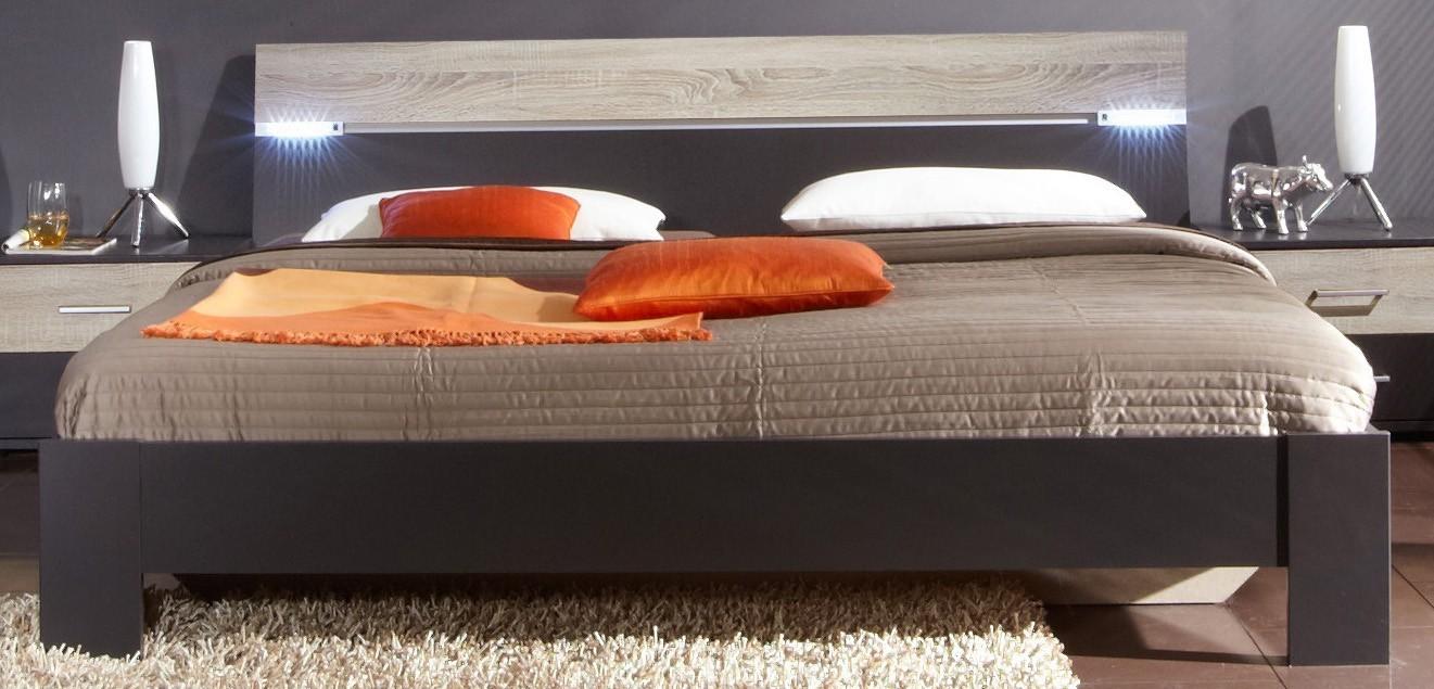 Dřevěná Madrid - Postel 160 cm (lava černá/dub)