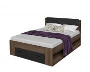 Dřevěná postel Jawa 160x200, dub, černá, s úložným prostorem
