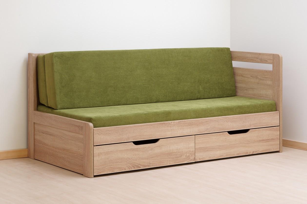 Dřevěná Postel Twins 180x200, dub, vč. matrace, roštu a úp