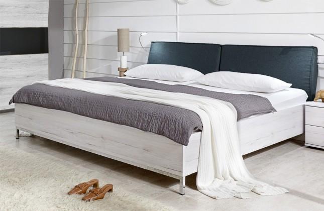 Dřevěná Sylt - Postel 180 cm (dub bílý, antracit)
