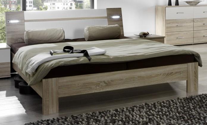 Dřevěná Vicenza - Postel 140x200 cm (dub/alpská bílá)