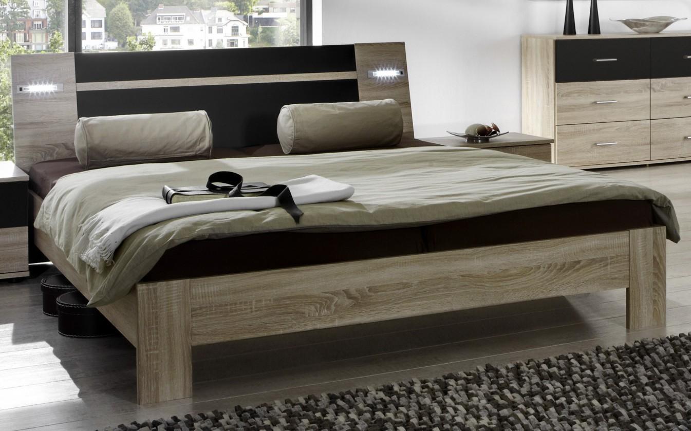 Dřevěná Vicenza - Postel 140x200 cm (dub/lava černá)
