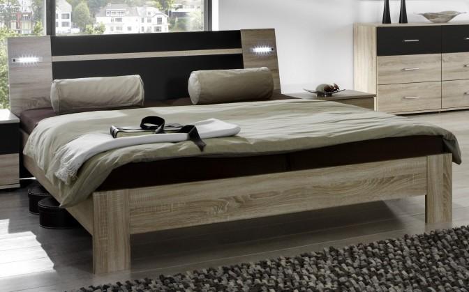 Dřevěná Vicenza - Postel 180x200 cm (dub/lava černá)
