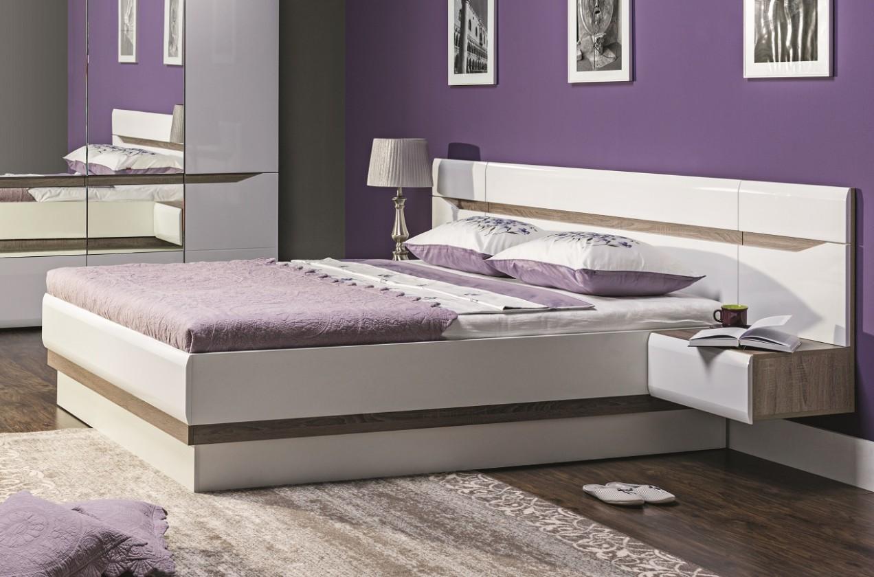 Dřevěné postele Postel Leone -160x200 cm (dub trufel, bílá lesk)