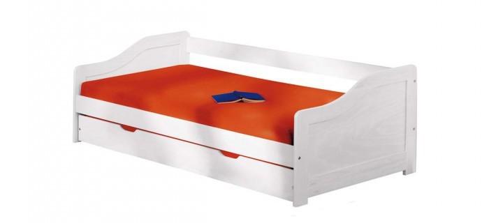 Dřevěné postele Postel Lucie 90x200, bílá, vč. roštu, bez matrace