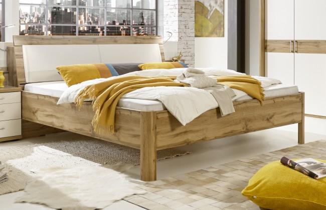 Dřevěné postele Postel Padua 180x200, dub, bílá, včetně úp