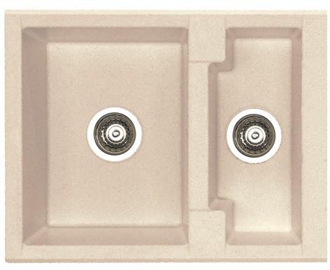 Dřez rovný Cubo 20 - Dřez, včetně sifonu, 1 a půl vaničky (granit, terra)