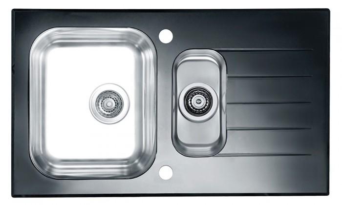 Dřez rovný Glassix 20 - Dřez, včetně sifonu (nerez - tvrzené sklo)