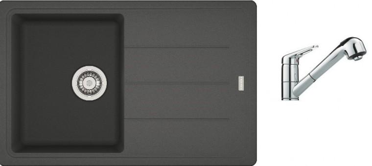 Dřezový set SET1 - Dřez granit + baterie (grafit, stříbrná)