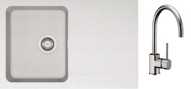 Dřezový set SET10 - Dřez tectonite + baterie (bílá, stříbrná)